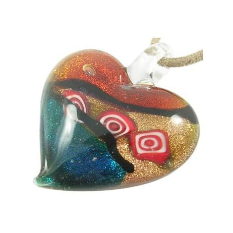 Přívěsek, srdce skleněné L3443