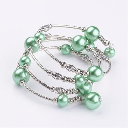 Náramek z  perliček na paměťovém drátu  - mix barev L0422 šedá A
