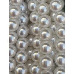 voskované korále 12 mm, kulaté, světle krémové bal. 12 ks