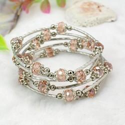 Náramek z  perliček, růžový L3924B