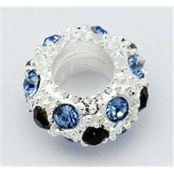 Korálek kovový se štrasovými kameny L0062