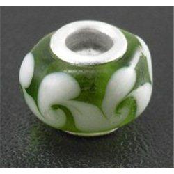 Korálek zelený s dekorem, velkodírový L0127