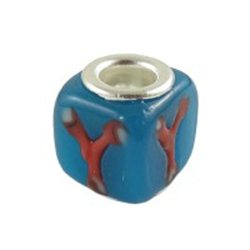 Korálek modrý s dekorem L0137 - KOSTKA