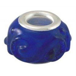 Korálek tmavě modrý, velkodírový L0139