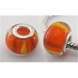 Korálek oranžový se žlutým dekorem, velkodírový L0161
