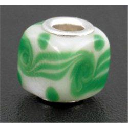 Korálek bílý se zeleným dekorem L0234 - KOSTKA