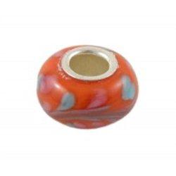 Korálek oranžový s jádrem z pravého stříbra L0252