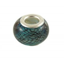 Korálek modrozelený s dekorem L0259