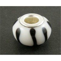Korálek bílý s černým dekorem L0269