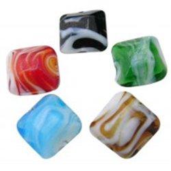 Korálek  skleněný, čtverec, mix barev L0319 - LAMPA (vinutá perle)