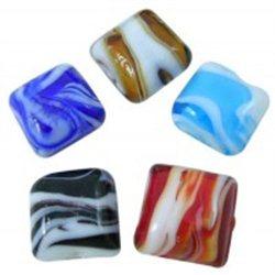 Korálek skleněný, čtverec, mix barev, L0321 - vinutá perle - lampa