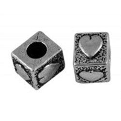 kovový korálek L0517 - KOSTKA