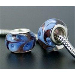 Korálek fialový s modrým dekorem L0561