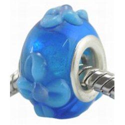 Korálek modrý s dekorem L0563