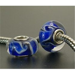 Korálek modrý s dekorem L0576