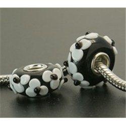 Korálek černý s bílým dekorem L0579