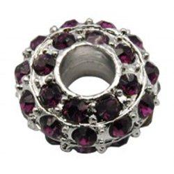 Korálek kovový s fialovými štrasovými kameny L0621