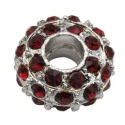 Korálek kovový s tm červenými štrasovými kameny L0623