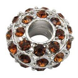 Korálek kovový s hnědými štrasovými kameny L0625