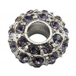 Korálek kovový s fialovými štrasovými kameny L0626