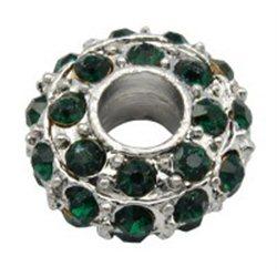 Korálek kovový s tmavě zelenými štrasovými kameny L0629