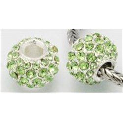 Korálek kovový se zelenými štrasovými kameny L0633