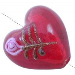 Korálek skleněný, srdíčko L3320 - LAMPA (vinutá perle)