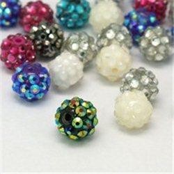 Korálek z pryskyřice s kamínky mix barev L2952 3 ks