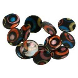 Korálek z perleťoviny s dekorem L0807