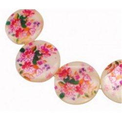 Korálek z perleťoviny s dekorem L0809