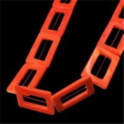 Korálek z perleťoviny, obdélník oranžový L0875