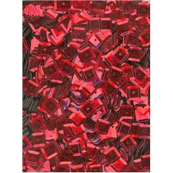 červené flitry 6 mm čtvercové miska 20915-020 bal. 3 g (cca240ks)