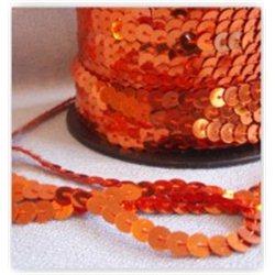 oranžové flitry 6 mm (0,6 cm) na niti 960-634 bal. 1 m