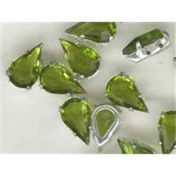 skleněný kámen (tvar slza) v kov.kotlíku 13x7,8mm olivín
