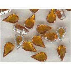 skleněný kámen (tvar slza) v kov.kotlíku 13x7,8mm topaz