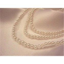 Korálky, plastové voskové perle 4mm, bílé, navlečené, 1 šnůra 435 ks, 9698