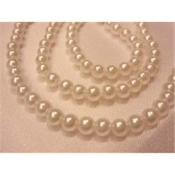 Korálky, plastové voskové perle 5mm, bílé, navlečené, 1 šňůra 340 ks, 10200