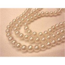 Korálky, plastové voskové perle 6mm, bílé, navlečené, 1 šňůra 270 ks, 10201