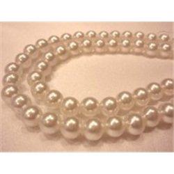 Korálky, plastové voskové perle 8 mm, bílé, navlečené, 1 šňůra 200 ks, 13000