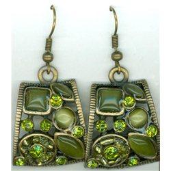 Náušnice se zelenými kamínky L2287 1 pár