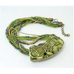 Náhrdelník  s drahokamy barvy olivínu L2293