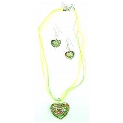 Srdíčkový set náhrdelníku a náušnic zelené barvy L2144