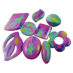 Plastové korálky s potiskem, MIX tvarů, č. L2364 váleček twist 29x18 mm