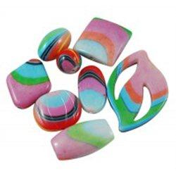 Plastové korálky s potiskem, MIX tvarů, L2367 kulička 25 mm