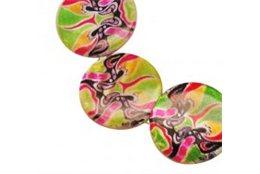 Korálky z perleťoviny s barevným potiskem L2265