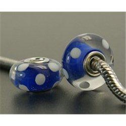 Korálek s kovovým velkým průvlekem, modrý L2523