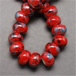 Porcelánový korálek, červený L2532