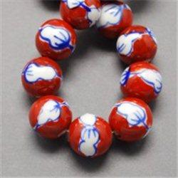 Červený porcelánový korálek L2537
