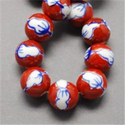 Porcelánový korálek, červený L2537