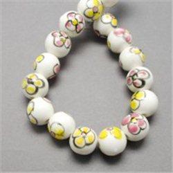 Porcelánový korálek, bílý L2539